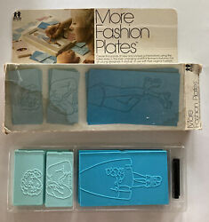 Vintage Tomy More Fashion Plates Set With Original Box And Crayons Blue No.2510