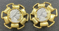 Vtg Roman Coin Earrings Large Greece Etruscan Revival Cameo Costume Jewelry