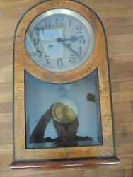 Vintage Dufa Wall Clock Move Dial Hands Pendulum Gong In Beveled Glass Case