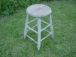 Antique Primitive Rustic Farmhouse Country Wooden Stool