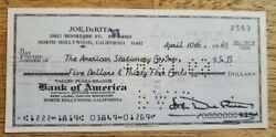 Joe Derita 1969andnbsp Autographed Signed Personal Check Three Stooges D. 1993