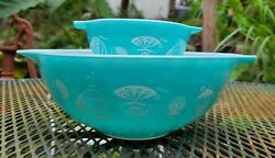 Vintage Pyrex Balloons Chip And Dip Bowl Set 's 441 And 444 No Bracket