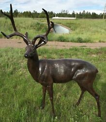 Life Size Deer Buck Aluminum Statue Painted Black And Brown