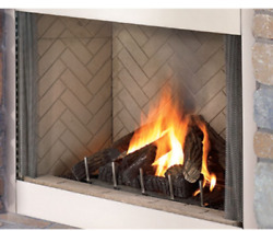Superior 42and039 Stainless Steel Outdoor Vf Fireplace White Herringbone Electronic