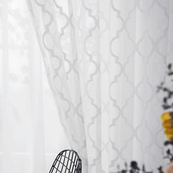 White Lace Mesh Tulle Window Screen Curtains For Bedroom Plaid Sheer Bed Drapes