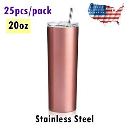 25/pack 20oz Skinny Tumbler Stainless Steel Insulated Water Bottle With Straw