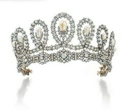 Historic Tiara Convertible Necklace 925 Sterling Silver High Pearl And Sim Diamond