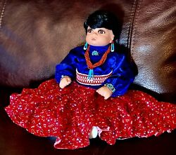 Navaho Indian Porcelain Hand Painted Doll