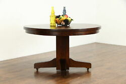 Arts And Crafts Mission Oak 48 Antique Dining Table, 2 Leaves, Extends 72 37688