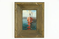 Ship At Dock Original Antique Oil Painting On Board Painting Gross 17.5 39268