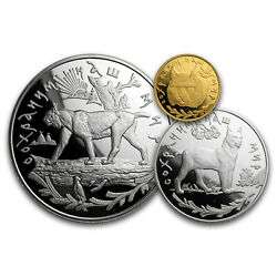 1995 Russia 3-coin Gold And Silver Russian Lynx Set