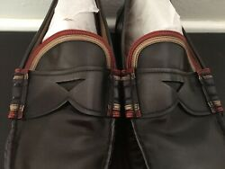 AUTHENTIC PRADA MEN#x27;S BLACK LEATHER LOAFER SHOES $99.99