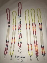 Six 6 Ponca Tribe Native American Beaded Lanyards Id Badge Necklaces Lot 16