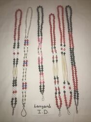 Six 6 Ponca Tribe Native American Beaded Lanyards Id Badge Necklaces Lot 19