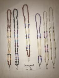 Six 6 Ponca Tribe Native American Beaded Lanyards Id Badge Necklaces Lot 20