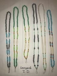 Six 6 Ponca Tribe Native American Beaded Lanyards Id Badge Necklaces Lot 21