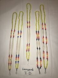 Six 6 Ponca Tribe Native American Beaded Lanyards Id Badge Necklaces Lot 22