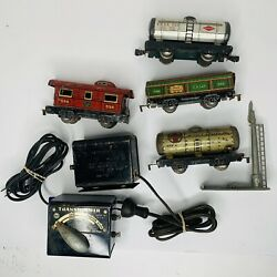 Lot Of Wind Up Marx Tin Toy Train Engine New York Central Lines W/ Transformers