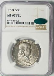 1958 Franklin Half Dollar - Ngc Ms-67 Full Bell Lines - Cac
