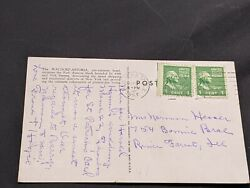 Antique Postcard With 2 George Washington 1 Cent Stamps - Postmarked 1953
