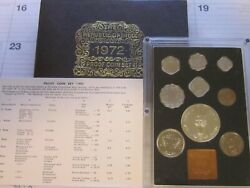 1972 India Mint Proof Set - 9 Coin Box And Coa Rupee Paise - 25th Anniversary