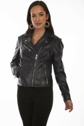 Scully L1048-310-s Ladies Soft Touch Leather Motorcycle Jacket Navy - Small