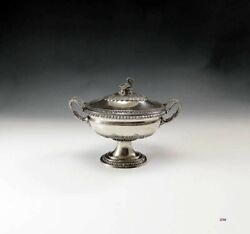 Superb Quality Antique German 800 Silver Covered Dish W/ Swan Finial