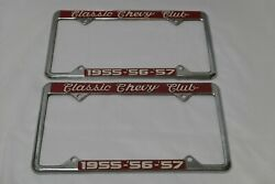 Vintage Classic Chevy Club 1955-56-57 License Plate Cover Metal Lot Chevrolet