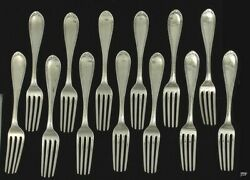 13 Handsome 1820s-50s American Coin Silver Dinner Forks
