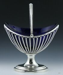 Antique 19th Century Sheffield Fused Silver Plate Glass Liner Basket Dish