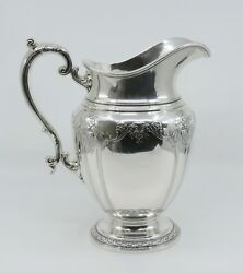 Lovely Vtg Gorham Sterling Silver Hand Chased Ice Water Tea Pitcher Large Size