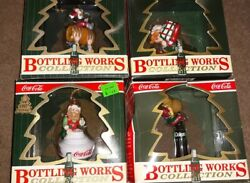 New 4 Vintage Coca Cola Christmas Ornaments. Coke Bottling Works Collection.