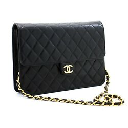 A84 Authentic Chain Shoulder Bag Clutch Black Quilted Flap Lambskin
