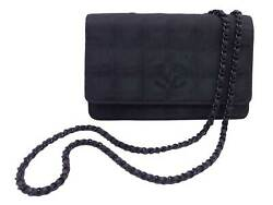 Auth New Travel Line Wallet On Chain Crossbody Shoulder Bag Black E49645a