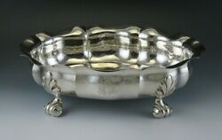 Vintage Buccellati Italian Hammered Sterling Silver Footed Bowl Dish 10 X 7 3/4