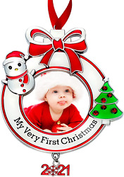 Babyand039s First Christmas Photo Ornament 2021 My Very First Christmas Photo Frame X