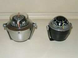 2 Vintage Compasses 1-aqua Meter And 1- Air Guide With Mount Bases