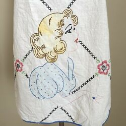 Vintage 30s 40s Full Bib Apron Hand Embroidered Married Woman Ring Bridal Shower