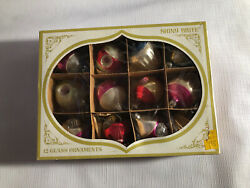 Vintage Shiny Brite Glass Christmas Ornaments Colors Small With Box Finial Flute