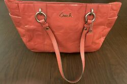 Coach Bag Embossed Signature Coral Patent Leather Gallery Tote Shoulder Purse $49.99