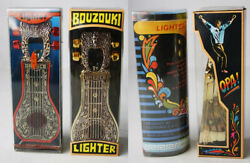 2x Vintage 80and039s Bouzouki Bic Lighter Case By Ouzounis Greece Greek Opa New