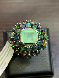 Natural Colombian Emerald 10x9 Black Opal Diamond 24 Pc.sterling Silver 925 Ring