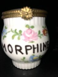 Rare Little Limoges Hand Painted Dresser Apothecary Jar Morphine Only
