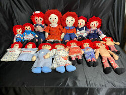 15 Vtg Large Small Raggedy Anne And Andy Dolls