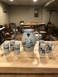 Antique Ithaca Ny Stoneware Ale Pitcher And Set Of Tankards- Prosit