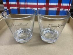 2 Canadian Crown Royal Rocks Glasses Embossed Whiskey Low Ball Flared. A110