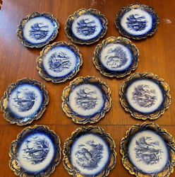 Empire China Stoke On Trent Fish Plates Flow Blue Set Of 11 Antique Gold Gilt