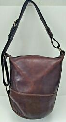 Made In Italy Vintage Dark Brown Leather Large Bucket Bag $49.99