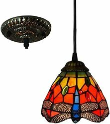 6 Inch Mini Pendant Lamp Style Red Dragonfly Stained Glass Lampshade ...