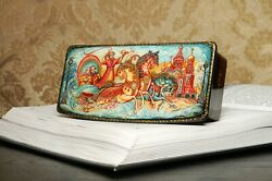 Russian Lacquer Box St Petersburg Russia Hand-painted Jewelry Box Three Horses